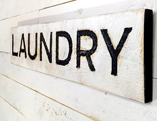 Laundry Sign - Carved in a Cypress Board Rustic Distressed Shop Advertisement Farmhouse Style Room Wooden Wood Rustic Decoration