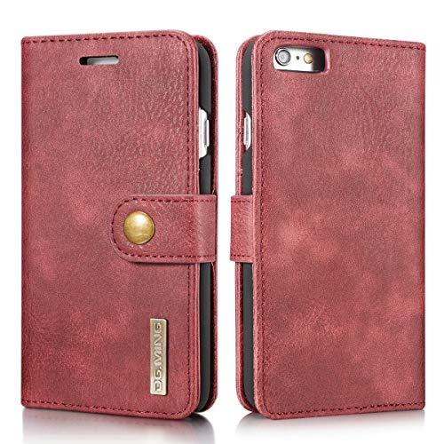 SZCINSEN Funda tipo cartera para iPhone 6 Plus/6S Plus, funda tipo cartera magnética 2 en 1, funda de piel de vacuno retro con ranura para tarjeta (color rojo)