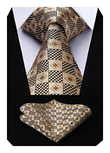 HISDERN Herren Krawatte Hochzeit Check Krawatte & Einstecktuch Set Gold