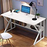 melupa Computer Desk 47' with Bookshelf, Office Desk, Writing Desk, Wood Industrial Style, Study Table Workstation for Home Office Furniture