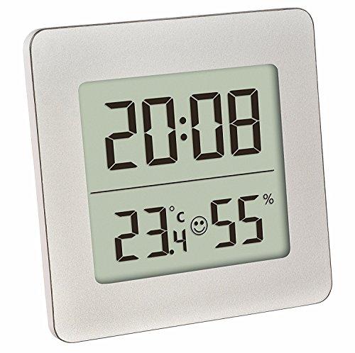 TFA Dostmann 30.5038 Digitales Thermometer Hygrometer Raumklima-Kontrolle (Silber mit Batterie)