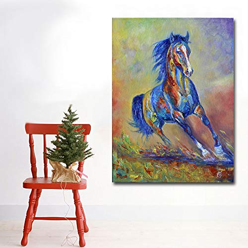 Moderne kunst Abstract Schilderij Kleurrijke Paard Afbeelding Canvas Gedrukte Muurkunst Prints Poster Cuadro voor Woonkamer Schilderen 60x80CM NO FRAME
