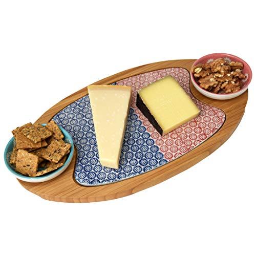 LA VITA VIVA Servierbrett aus echtem Bambusholz, Sushi Servierplatte, Käsebrett mit Keramikeinlage und 2 Snackschalen, Dipschalen
