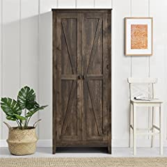"""Organize your living space with the help of the System Build Farmington 31.5"""" wide storage cabinet Finished in a weathered medium brown, this laminated particleboard and MDF cabinet is perfect for any rustic, cottage, Shabby chic or Casual spaces Beh..."""