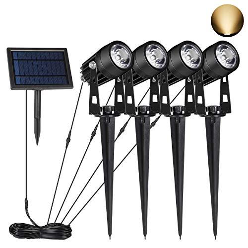 SALCAR LED Garten Solarstrahler, Wasserdicht Solar Lampe Set Außen, 4 Stück Wegeleuchte mit Erdspieß - Warmweiß