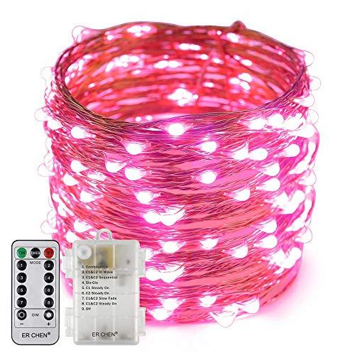 Stringa Luci LED a Batteria 10m 100 LED Luce Stringa Luminosa Filo in Rame Impermeabile IP65 8 Modalità Lucine Led Decorative per Camere per Casa, Feste, Matrimonio, DIY, Natale (rosa, 10M)