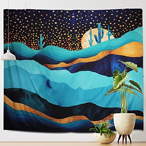 Coolzon Tapiz Pared Decoracion, Tapiz de Pared Mandala con Patrón de Puesta de Sol y Montañas Tapestry Decoración de Pared para Dormitorio Sala de Estar, 200*150 CM