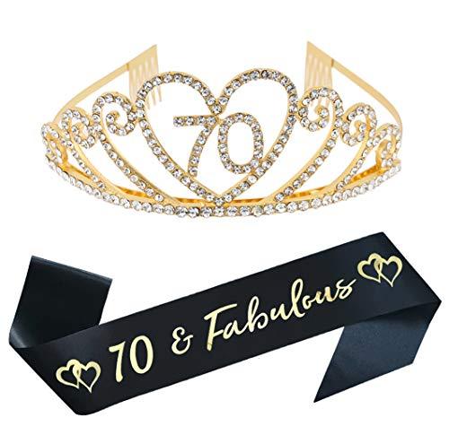 70. Geburtstag Party Supplies 70. Geburtstag Tiara und Schärpe Kit Strass Prinzessin Krone und Glitzer Satin Schärpe für Happy Birthday Party Favors, Dekorationen