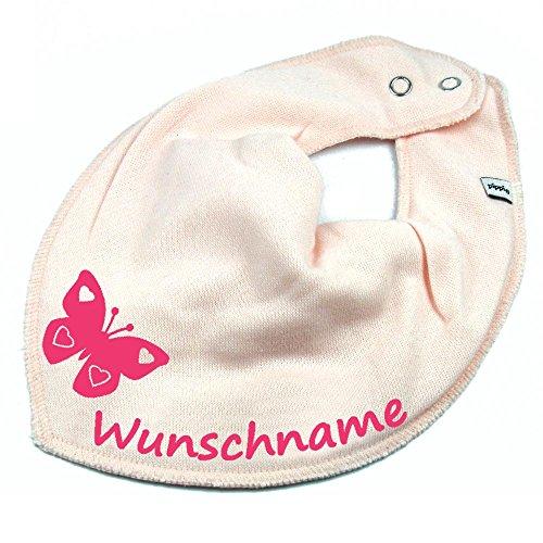 Elefantasie HALSTUCH SCHMETTERLING mit Namen oder Text personalisiert rosa für Baby oder Kind