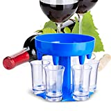 CHARMINER 6 Shot Glass Dispenser with 6 Cups, Hanging Holder Stand Rack, Carrier Caddy Liquor Dispenser Gifts Drinking Games for Bar Home Cocktail Party(6 Clear Shot Glass)(Blue)