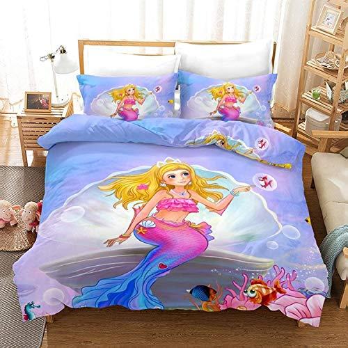YOMOCO Creative Mermaid - Juego de ropa de cama (1 funda nórdica + 2 fundas de almohada), 100% microfibra (A06,135 x 200 cm + 50 x 75 cm x 2)