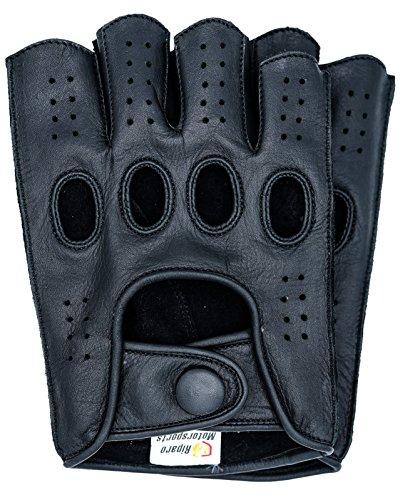 Riparo Herren Leder Reverse genäht Fingerlos Half-Finger Auto Fahren Motorrad Reiten Handschuhe (L, Schwarz)