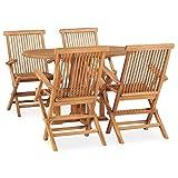vidaXL Madera Maciza de Teca Set de Comedor de Jardín Plegable 5 Piezas Muebles Exterior Terraza Hogar Cocina Silla Mesa Asiento Suave con Respaldo