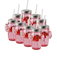 Circleware Pink Mason Jar Drinking Glasses with Metal Lids and Hard Plastic Straws Huge Set of 9 Glassware for Water Beer and Kitchen & Home Decor Bar Dining Beverage Gifts, 15.5 oz, Cactus