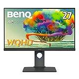 BenQ AQCOLORシリーズ 27型デザイナー向けモニター PD2705Q(WQHD/HDR/IPS/sRGB 100%/USB-C/65W給電/KVM機能/USBハブ/DP out/MST/高さ調整・回転)