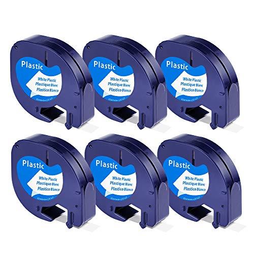 Unistar 6x Compatible Dymo LetraTag 91201 S0721610 Plástico Cintas de Etiquetas Negro sobre blanco para DYMO LetraTag LT-100H, LT-100T, LT-110T, QX 50, XR, XM Label Makers
