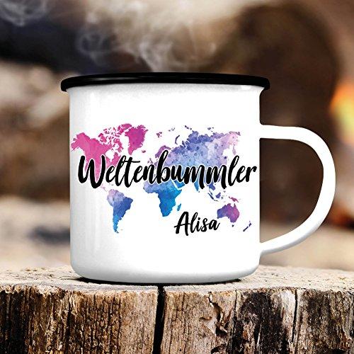 Wandtattoo-Loft Campingbecher Emaille Weltenbummler mit Wunschnamen – Weltkarte Wanderlust - Emailletasse/schwarzer Tassenrand
