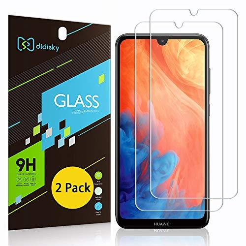 Didisky [2-Unidades Cristal Templado Protector de Pantalla para Huawei Y7 2019 / Y7 Pro 2019, Antihuellas, Sin Burbujas, Fácil de Limpiar, 9H Dureza, Fácil de Instalar, Transparente