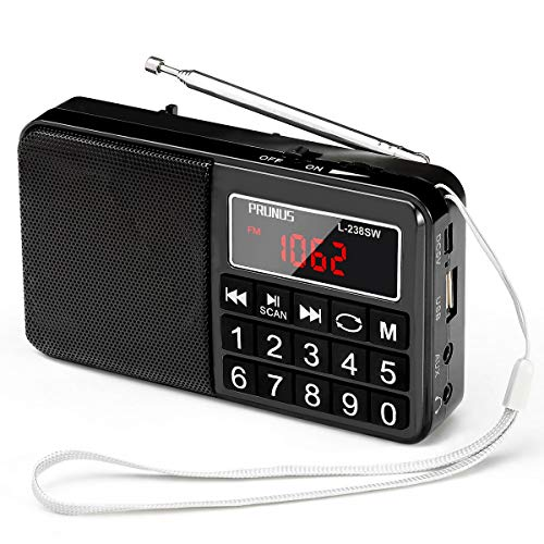 PRUNUS L-238 Radio Portable FM/AM(MW)/SW/USB/Micro-SD/MP3, Poste Radio avec Grands Boutons et Grand Écran,Radio Portable Rechargeable Batterie 1200 mAh (Noir)