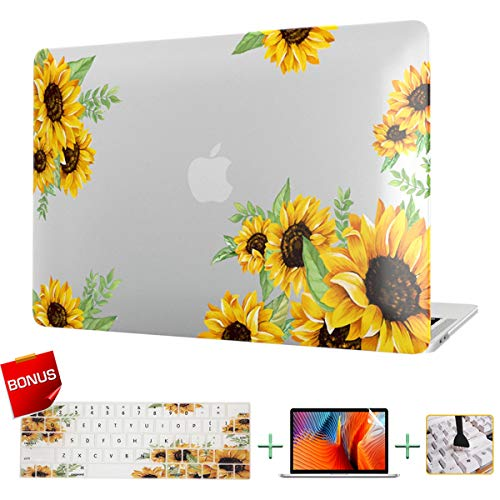 Laptop Case MacBook Case Sunflower Hard Shell Cover & Keyboard Cover & Screen Protector Only Compatible Old MacBook Pro 15 Inch CD-ROM (Model: A1286, Release 2008-2012)