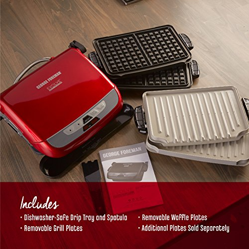 Product Image 1: George Foreman 5-Serving Multi-Plate Evolve Grill System with Ceramic Plates and Waffle Plates, Red, GRP4842RB