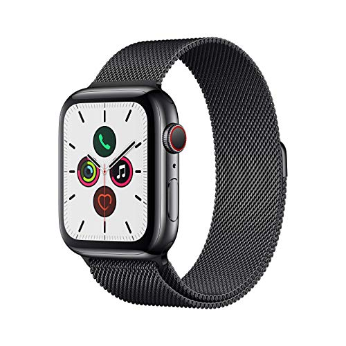 Apple Watch Series 5 (GPS + Cellular, 44 mm) Acero Inoxidable en Negro Espacial con Milanese Loop Negro Espacial