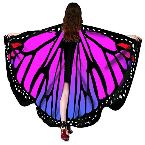 Christmas Party Soft Fabric Butterfly Wings Shawl Fairy Ladies Nymph Pixie Costume Accessory ((L)168cm(W)130cm/6651, Butterfly Rose)