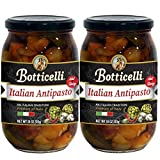 Botticelli Premium Italian Antipasto in a Jar Hot & Spicy (Pack of 2) - Italian Antipasto with Artichoke, Olives & Mushroom - For Antipasto Appetizer, Antipasto Salad & Antipasto Plates - 18oz