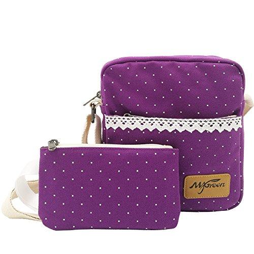 Messenger Bag for Girls, Cute Canvas Sling Bag Shoulder Bag Pencil Case Pencil Bag 2 PCS by Mygreen (Purple)
