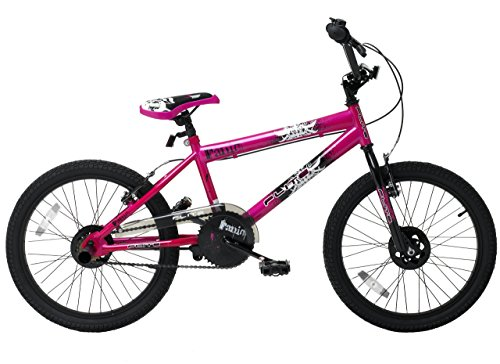 Flite Panic Girls' Freestyle Bike Pink, 12' inch bmx steel frame, 1 speed hi-ten steel bmx forks black freestyle 2.125 inch tyres