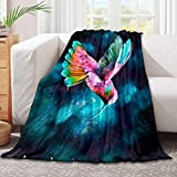 321DESIGN Hummingbird Lily Flowers Birds and Color Splashes in Watercolor Painting Style Microfiber Flannel Blankets for Couch, Bed, Sofa Ultra Luxurious Warm and Cozy for All Seasons