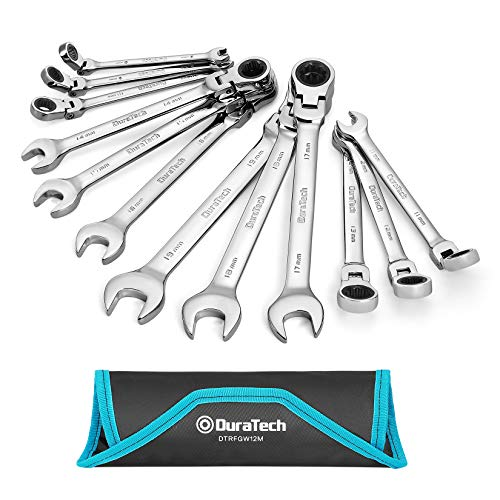 DURATECH Flex-Head Ratcheting Combination Wrench Set, Metric, 12-piece, 8-19mm, Chrome Vanadium Steel Construction with Rolling Pouch