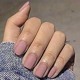 Brishow Faux ongles cercueil courts faux ongles collant sur les ongles des ballerines brillantes couverture complète 24pcs pour femmes et filles (rose gris)