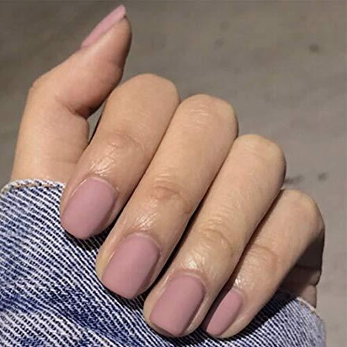 Brishow Künstliche Fingernägel Falsche Nägel Sarg Kurze gefälschte Nägel Kleben Sie die Nägel auf Glänzende Tipps 24 Stück für Frauen und Mädchen (Grau rosa)