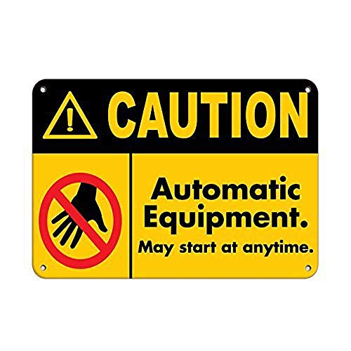 560 WENKLL Caution Automatic Equipment May St at Anytime 8x12inch Pub Shed Bar Man Cave Home Bedroom Office Kitchen Gift Metal Sign
