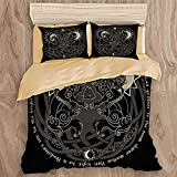 JISMUCI 4PCS Bedding Sets with Bed Sheet Khaki,Asgard Two Wolves Norse Mythology Hati Skoll Valknut Asatru Vintage Black White Celtic Soft Washed Duvet Cover Sets with 2 Pillowcases 90x90in