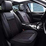 PLTCAT 5-Seat Car Seat Covers, Whole-seat Coverage in Handsome Waterproof Leather, Universal Fit Sedans&Suvs (Red&Black)