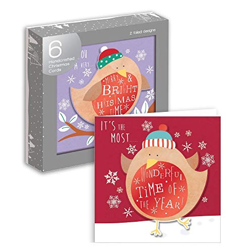 Lot de 6 cartes de Noël fabriqué à la main 2 Foiled Robin Designs de Noël Cartes de voeux