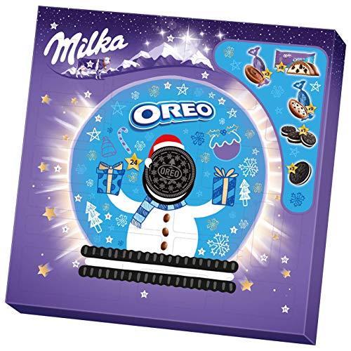 Milka & OREO Adventskalender 1 x 286g, Kalender mit verschiedenen Milka und OREO Süßigkeiten