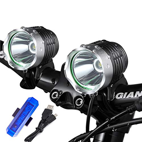 Night Eyes- 1200 Lumens Mountain Bike Headlight Bike LED Light -Rechargeable 8.4V 8800mA ABS Waterproof Battey-Free Aluminum BikeTaillight Bonus -NO Tool Required (2PACK Light)