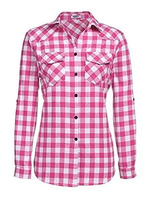 Zeagoo Flannel Plaid Top Long Sleeve Fall Plaid Shirts for Women (Rose, XXL)