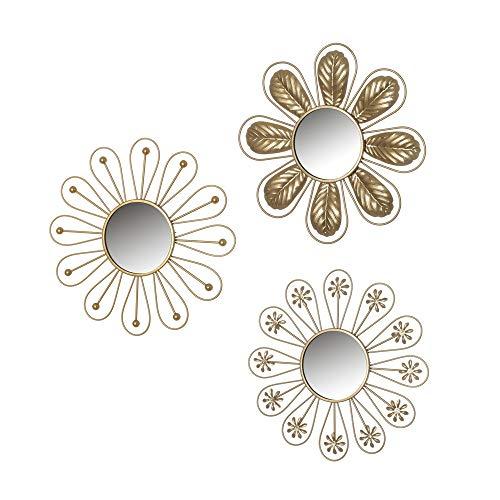 Set de 3 Espejos Flor Luxury Dorados de Metal y Cristal, de ø 25x1 cm - LOLAhome