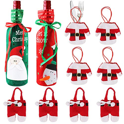 Heqishun 16 stuks bestekhouder Kerstmis en 2 stuks wijnhouder Kerstmis kleine kostuum bestekzak Kerstmis wijnzak decoratietas kerstboom hanger decoratie voor kersttafel