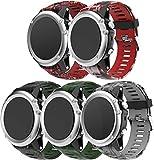 Correa de Reloj de Silicona Suave Compatible con Garmin Fenix 6X Pro/Fenix 6X Sapphire/Fenix 3 / Fenix 5X Plus/5X Sapphire, Repuesto Ideal (5-Pack J)