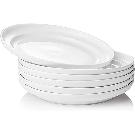 Dowan Porcelain White Dinner Plates Set Round Dessert Salad Serving Plates 8 Inch Microwave Dishwasher Safe Ceramic Plates For Party Kitchen Wedding Amazon Co Uk Kitchen Home