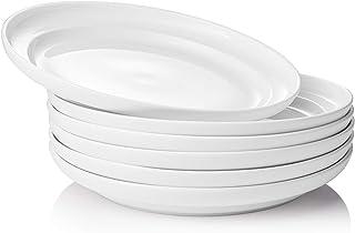 DOWAN Porcelain Pasta Bowls - 30 Ounces Serving Plates Bowl for Pasta Salad, Dishwasher Microwave Oven Safe Dinner Plate S...
