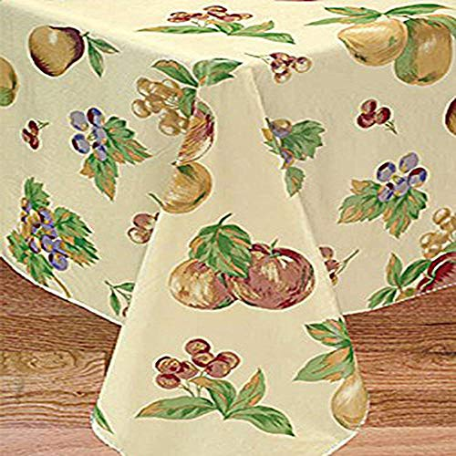 BRODER MFG. INC. Apple Delicious Flannel Backed Vinyl Tablecloth - 52x90 Oblong (Rectangle) | Perfect for Picnics, Barbeques, Parties, Camping, Special Occasions, Gatherings, and Everyday Use