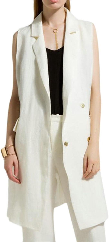 GAGA Women Sleeveless Blazer Lapel Cotton Linen Fashion Vest