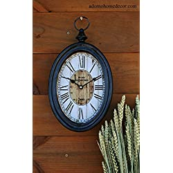 Small Oval Metal Wall Clock Roma Antique Chic French Unique Rustic Shabby