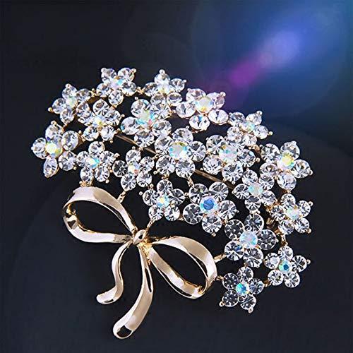BROOCHPS Spilla di Cristallo del Fiore del Rhinestone per Gli Uomini Wedding Bridal Party Perle Spille per Le Donne Gioielli Vestiti Accessori Spille di Smalto Compleanno, C